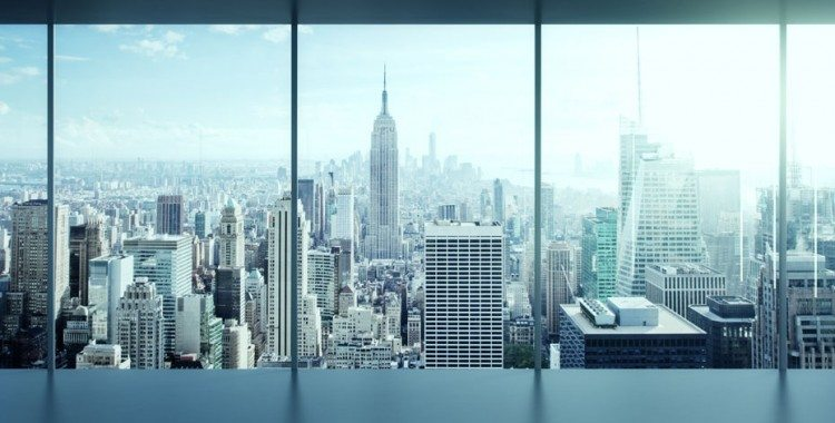 Cityscape outside of office window