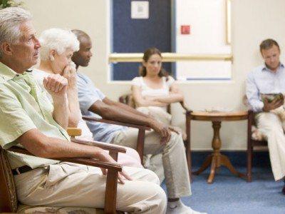 Patients looking impatient in waiting room