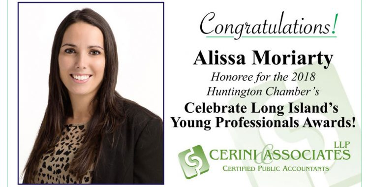 Alissa Moriarty Honoree for the 2018 Huntington Chamber's Celebrate Long Island's Young Professionals Awards