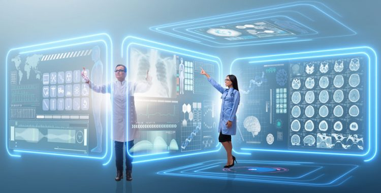 Male and female doctor touching various healthcare graphics