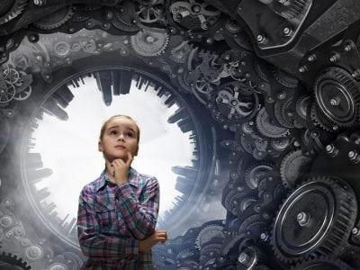 Young girl with pondering look on her face surrounded by mechanical gears