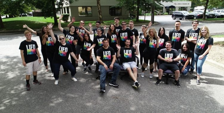 Picture of Cerini Staff outside of office for Intern Olympics 2018