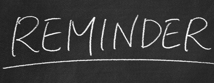 CFR Reminder writing on chalkboard
