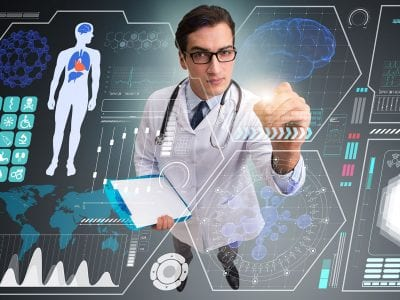 Doctor behind healthcare graphics