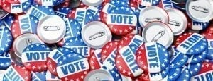 pile of American vote pins